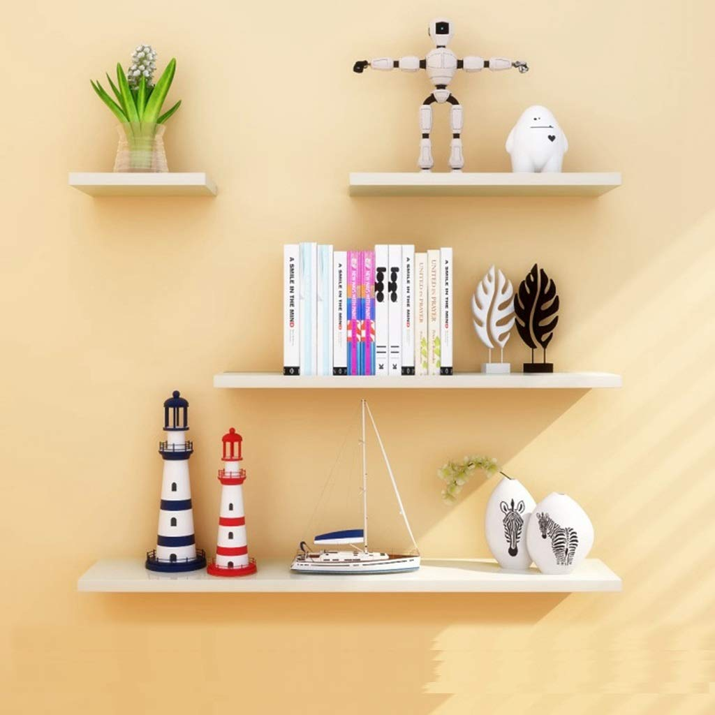 Wall Shelves Density Board Floating Wall Display Shelves Home Storage Floating Wall Ledge 4 Sets of Black and White (Color : White)