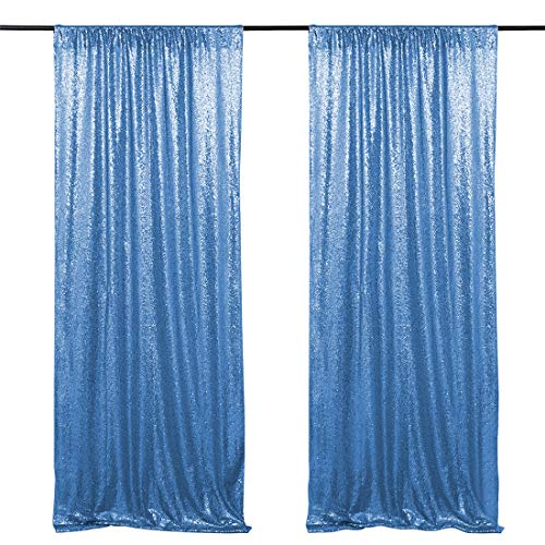Baby Blue Glitter Sequin Backdrop Curtains 2 Pack 2ftx8ft Shimmer Sequin Photography Backdrop Gorgeous Seamless Fabric Drapes