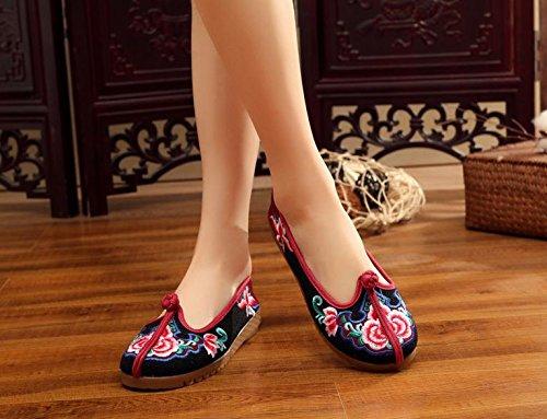 WXT Zapatos bordados, lenguado de tendón, estilo étnico, zapatos de tela femenina, moda, cómodo, casual Black