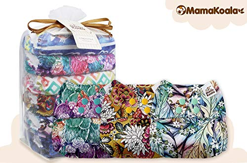 Mama Koala One Size Baby Washable Reusable Pocket Cloth Diapers, 6 Pack with 6 One Size Microfiber Inserts (Mellow)