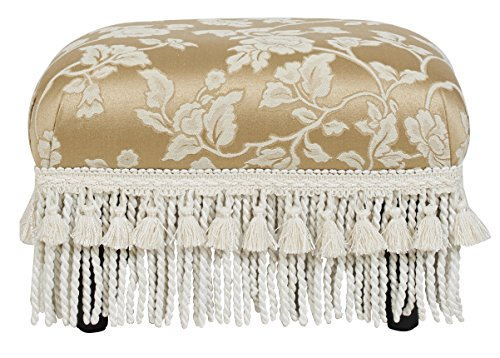 Traditional Upholstered Ottoman - Jennifer Taylor Home Fiona Collection Traditional Style Upholstered Fringed and Tasseled Rectangular Wood Framed Footstool, Neutral