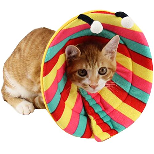 Bolbove Colorful Stripes Pet Soft & Stylish Cone Recovery E-Collar for Dogs & Cats (Large) (Cat Soft Costume)