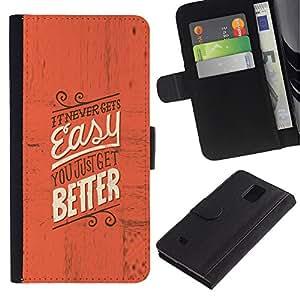 """Samsung Galaxy Note 4 IV / SM-N910 , la tarjeta de Crédito Slots PU Funda de cuero Monedero caso cubierta de piel ("""" Easy Better Inspiring Motivational Red Text"""")"""