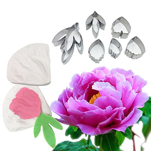 AK ART KITCHENWARE Leaf and Flower Tool Kit 7Pcs Stainless Steel Peony Cutter 2 Pcs Silicone Veining Mold Veiner Petal Texture Tool Sugar Flower Making Tool A356/A339&VM060