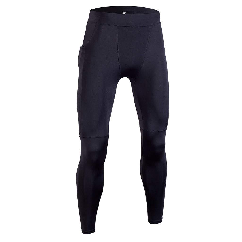 YOcheerful Men Activewear Pants, Men Training Bodybuilding Pants Sport Workout Sweatpants Fitness Long Pants Trousers Black
