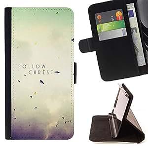 BullDog Case - FOR/Sony Xperia m55w Z3 Compact Mini / - / FOLLOW CHRIST /- Monedero de cuero de la PU Llevar cubierta de la caja con el ID Credit Card Slots Flip funda de cuer