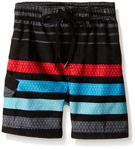 Kanu Surf Little Boys' Toddler Echo Stripe Swim Trunk, Black, - Black Watersports