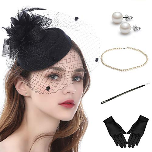 Fascinator Hats for Women Pillbox Hat with Veil Headband and a Forked Clip Tea Party Headwear (Z-Set E)