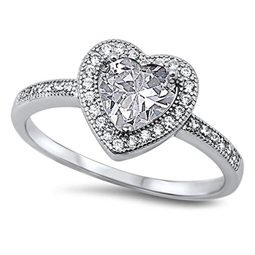 925 Sterling Silver Promise Ring Heart Shaped Clear CZ accent Wedding Engagement - Wedding Shaped Rings Heart