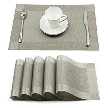 Borlan Vinyl Grey Placemats Heat Resistant Dining Table Mats Non-slip Washable Place Mats Set of 6(Grey)
