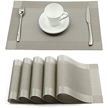 Attractive Borlan Vinyl Grey Placemats Heat Resistant Dining Table Mats Non Slip  Washable Place Mats Set