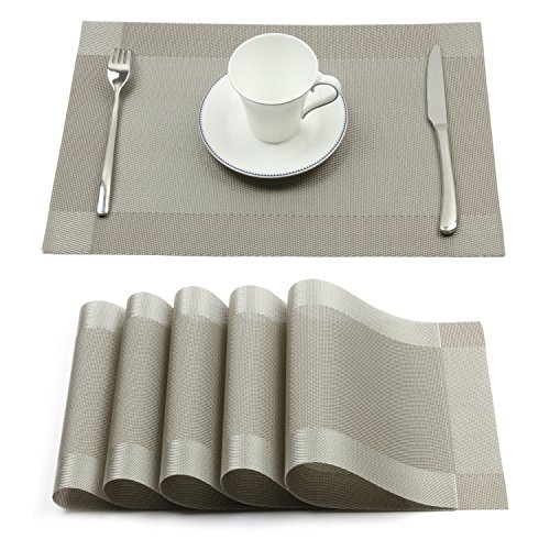 Borlan Vinyl Grey Placemats Heat Resistant Dining Table Mats Non-slip Washable Place Mats Set of 6(Grey) (Placemats For Dining Table)