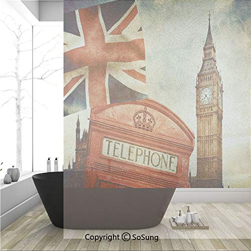 3D Decorative Privacy Window Films,Vintage Style Symbols of London with National Flag UK Great Britain Old Clock Tower Decorative,No-Glue Self Static Cling Glass film for Home Bedroom Bathroom Kitchen