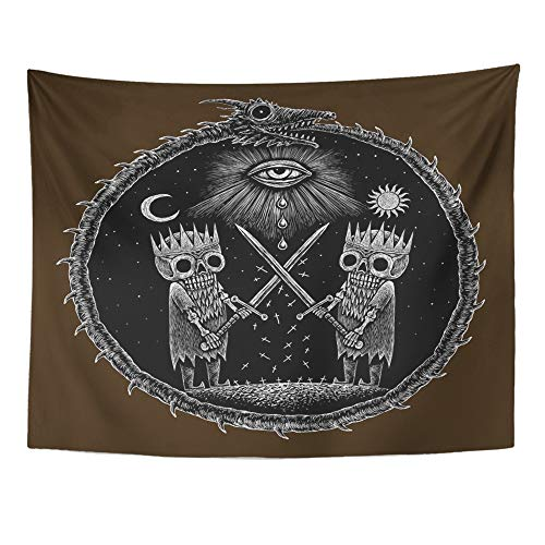 Emvency Tapestry Mandala 60x80 InchesWar of Kings Two Skeleton Warring Sword Against The God's Eye On Ancient Dragon Decor Wall Hanging for Living Room Bedroom Dorm