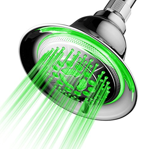 Lamp Mist Green - DreamSpa All Chrome Water Temperature Controlled Color Changing 5-Setting LED Shower-Head by Top Brand Manufacturer! Color of LED lights changes automatically according to water temperature
