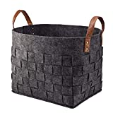 Alapaste Felt Storage Baskets Bin with Handles,Collapsible Storage Baskets Organizer Durable Foldable Handmade Rectangular Storage Box Cube Containers for Home Kids Toys Baby Clothing