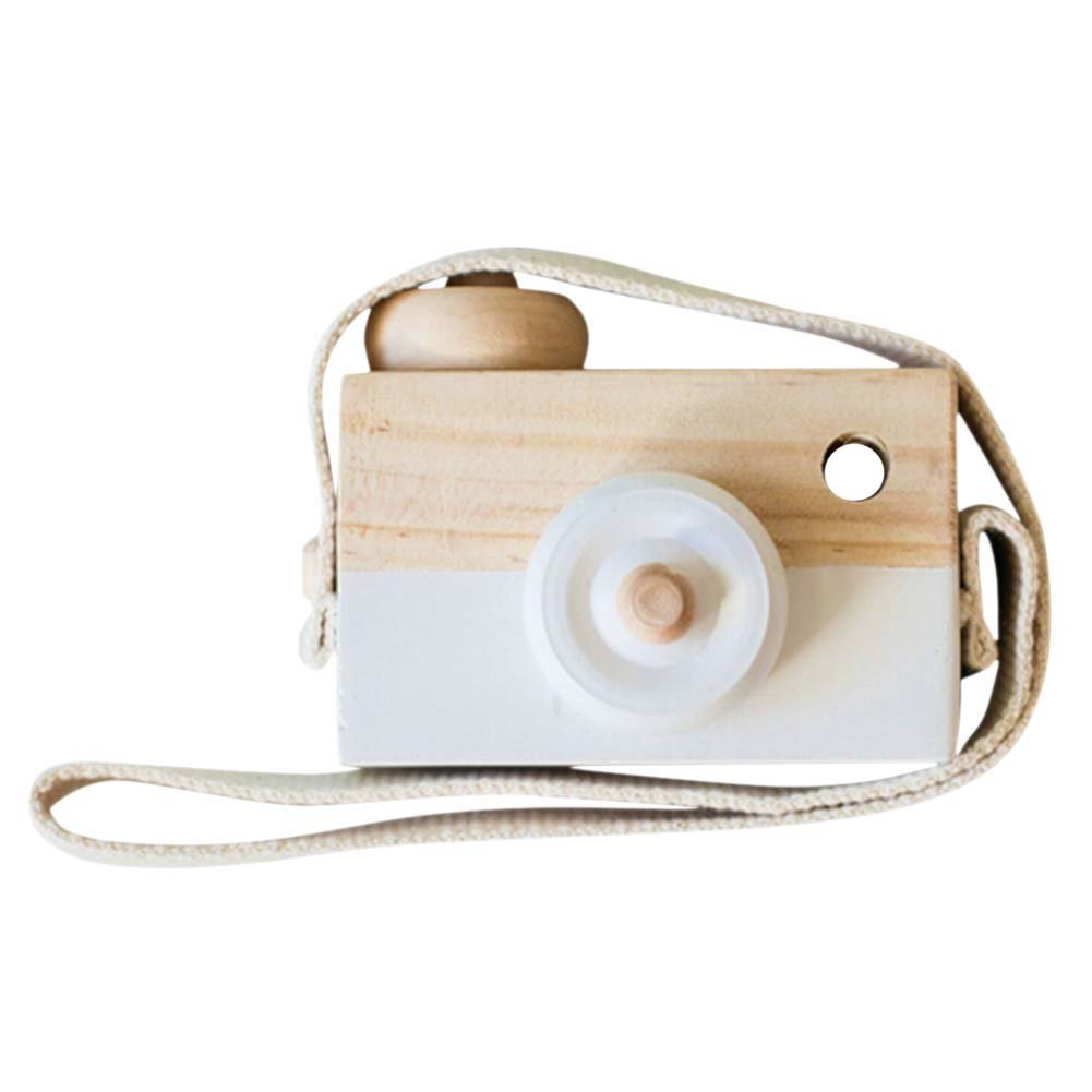 Unetox Kids Mini Wooden Camera Toys Fashion Neck Hanging Photographed Props with Rope Children's Room Decorations (White)