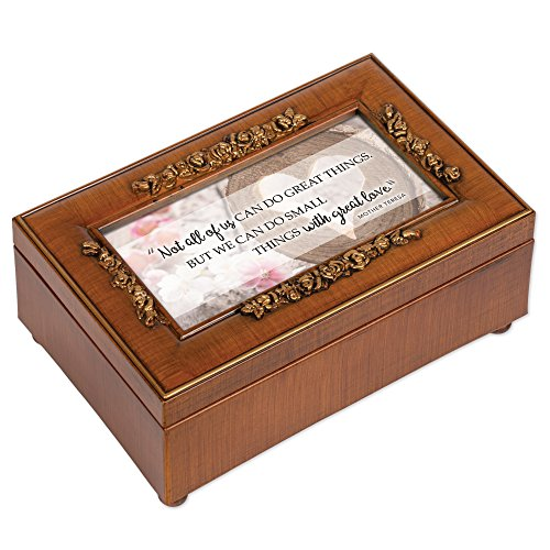 Do Small Things with Great Love Woodgrain Embossed Jewelry Music Box Plays in The Garden (Music Box Plays In The Garden)