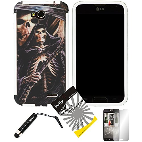 - 3 items Combo: ITUFFY (TM) LCD Screen Protector Film + Mini Stylus Pen + Grim Reaper Skull Design Wrap-Up Cover Faceplate Skin Phone Case for LG Optimus L90 / LG D415 (T-Mobile) (Grim Reaper Skull - White)