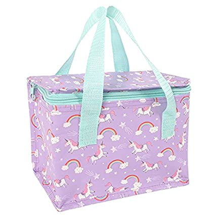 Unicorn Lunch Bag Blue Girls Packed Box Cool Insulated School Handles Tote NEW