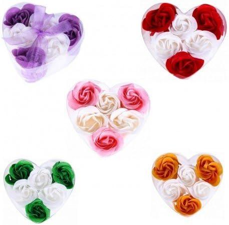 DISOK - 6 Flores De Jabon Presentadas En Estuche Corazon - Detalles Bodas (Precio Unitario). Jabones, jaboncitos Corazones pétalos de Rosas Detalles de Bodas, Comuniones, Cumpleaños, San