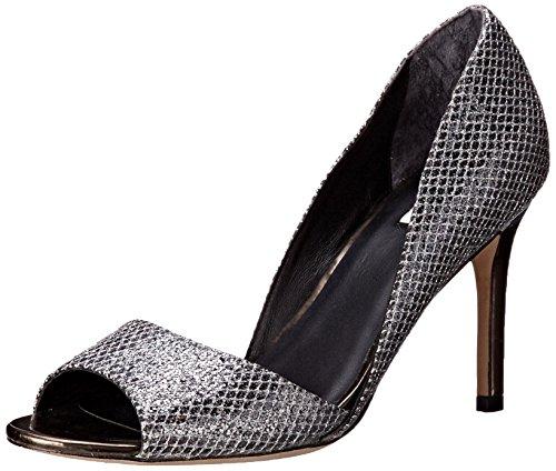 Cole Haan Women's Antonia Open Toe D'Orsay Pump, Silver/Gunmetal Glitter/Dark Silver/Metallic, 7 B US (Toe Open Dorsay)