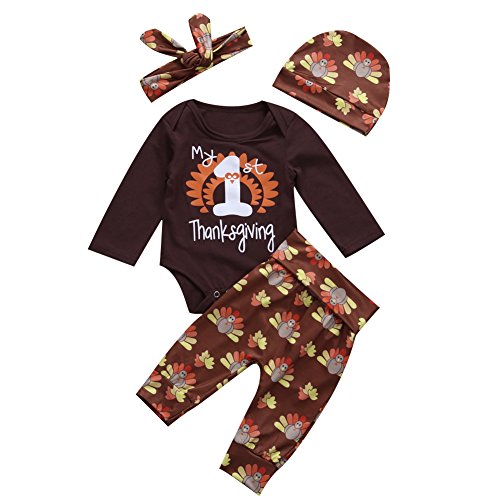 4Pcs Infant Baby Boy Girl Thanksgiving Outfit Set Long Sleeve Bodysuit Pants with Hat and Headband (6-12 Months, All Brown)