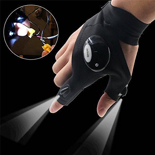 RexRod Fingerless Outdoor LED Glove Flashlight Torch Cover for Night Fishing, Camping, Hiking , and Working Repairing in Darkness Place (Right (Gloves Lights)