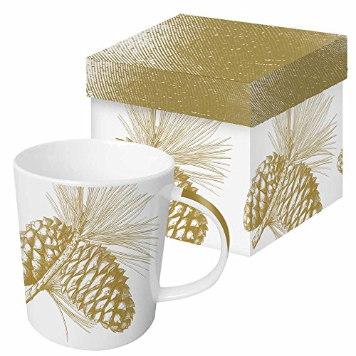 Paperproducts Design Gift Boxed Porcelain Mug, 13.5 oz, Botanical Engraved Pine Cone-Gold, Multicolor