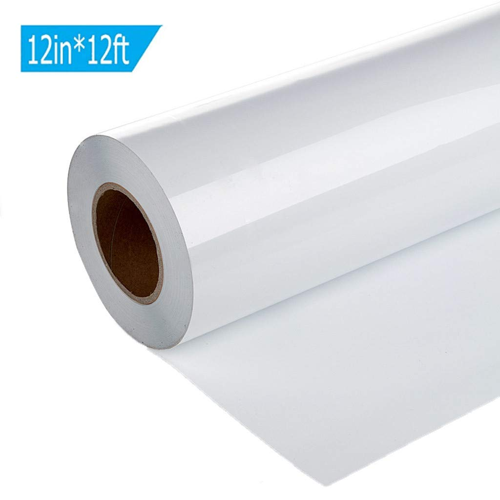 White 12in x 12ft, 12in x 12ft DIY Hot Press Sticker Transfer Film QUNANEN 1 Roll Vinyl Heat Transfer Iron On DIY Garment Film Silhouette Paper Art for Sports T-Shirt Football Baseball,Team