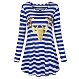 STORTO Women Christmas Plus Size Dress Santa Claus Print Stripe Nightdress Pajamas (L, Blue)