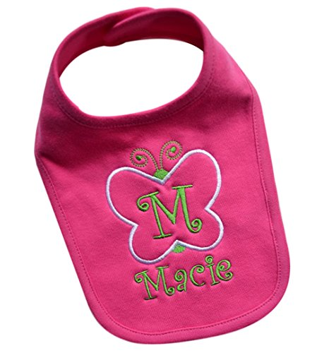 Handmade Baby Girl's BUTTERFLY Bib Embroidered with CUSTOM Name and Initial of Your Choice (Hot Pink) (Bib Initial Baby)