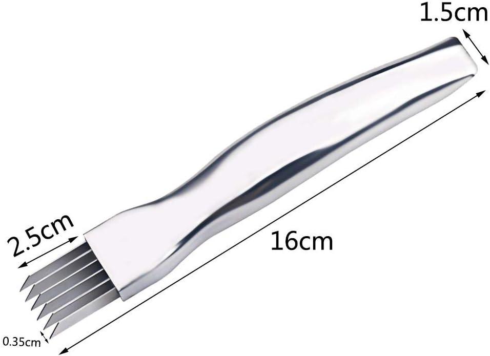 Zerkleinerer Multifunktionswerkzeug f/ür die K/üche Langlebiger Zwiebelschneider Gem/üsereibe Zwiebel- und Knoblauchschneider Iswell Edelstahl-Schnellmesser