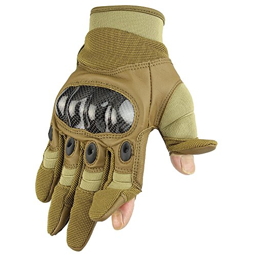 Fuyuanda Men`s Tactical Glove Outdoor Sports Full Finger Military Wear Resistant Hard Knuckles Palm Reinforcement for Motorcycle, Hunting, Shooting, Batting, Armor, Riding Tan