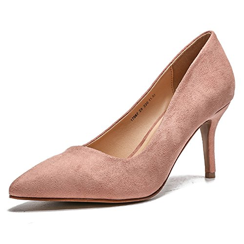 High Comfortable Pump Slip High Heel Elegant Wedding Cap Shoes On Dress Heels Formal Pointed Pumps coollight Shoes Pink Women's Toe nFZIZq