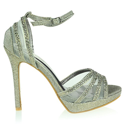 Frau Damen Diamant Abend Hochzeit Party Abschlussball Braut High Heel Knöchel Gurt Offener Zeh Sandalen Schuhe Größe Zinn