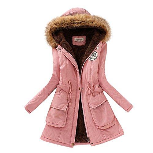 Labaqiangj Women's Faux Fur Hooded Cotton-Padded Parka Long Jacket PinkUS - Lewis John Eight Phase