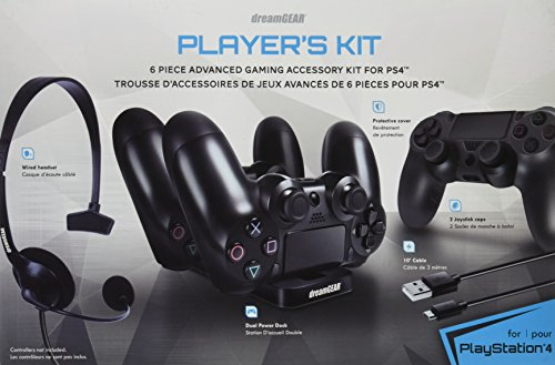 dreamGEAR – Player's Kit– includes charge dock/sync cable/headset/silicone controller cover – for PlayStation 4
