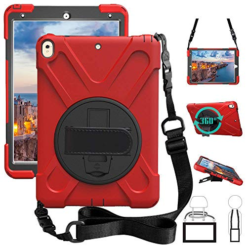 New iPad Pro 10.5 Case, Heavy Duty Carrying Rugged Protective Armor Case with 360 Degree Multi-Viewing Angle Stand, a Hand Strap & Shoulder Strap,for ipad 10.5