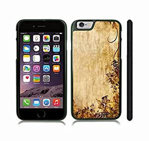 iStar Cases? iPhone 6 Plus Case with Floral and Leaf Pattern, Faded Yellows and Browns on a Textured Background , Snap-on Cover, Hard Carrying Case (Black)