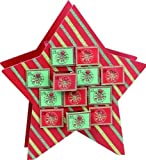 Transpac Imports, Inc. Festive Green and Red Striped Star Wooden Double Sided Christmas Advent Calendar