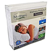 Matthem Premium Hypoallergenic Terry Cotton Waterproof Mattress Protector - Vinyl Free-Size Avaiable on Full XL 54x80+16 inch