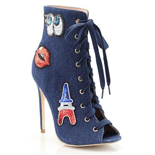 FOREVER VOGUE Women's Peep Toe Fashion Stiletto Heel Booties With Applique, Blue Denim, 9 M - Women Vogue