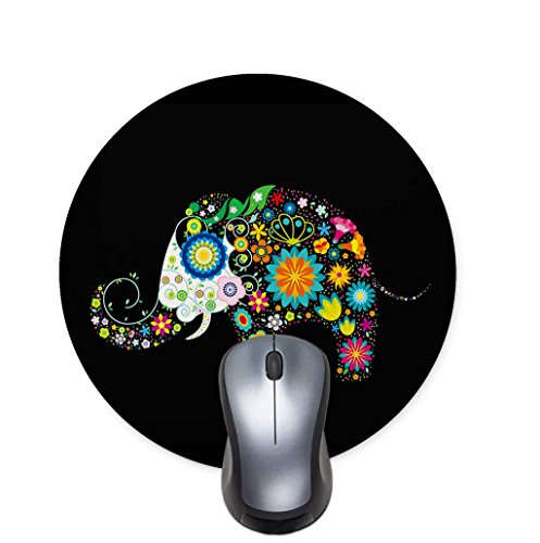 Bright Seamless Texture Beautiful Hand Painted Patterns Background Colorful Flower Elephant Round Mouse Pad Office Desktop or Gaming Cloth Surface Natural Rubber Round Mouse Mat (7.6x7.6 inch)