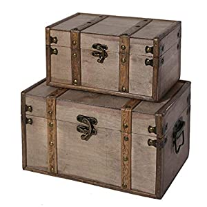 SLPR Natural Treasures Wooden Trunk Chest (Set of 2, Natural) | Decorative Old Rustic Wood Storage Trunk Box