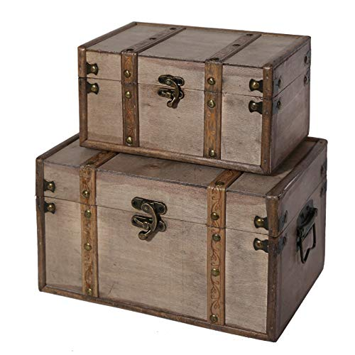 SLPR Natural Treasures Wooden Trunk Chest (Set of 2, Natural) | Decorative Old Rustic Wooden Keepsake Memory Trinket Nesting Boxes