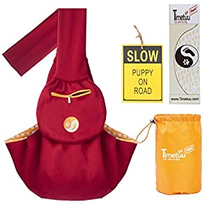 Pet Sling Carrier for Small and Miniature Dogs or Cats | Heavy Duty with Secure Closure to Carry Your Pets warm and safe inside. Suitable for small and medium size people and pets under 15lbs (Ruby)