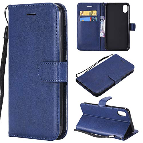 Price comparison product image iPhone Xs Max Case, iPhone Xs Max Wallet Case, Luxury Premium Ultra Slim PU Leather Folio Flip Magnetic Phone Protective Case Cover with Credit Card Slots Holder & Kickstand for iPhone Xs Max, Navy Blue