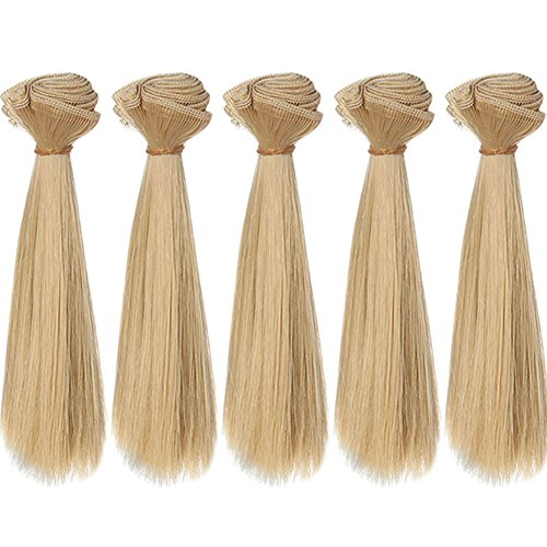 15x100cm Straight Smooth Light Blonde Heat Resistant Doll Hair Weft for Crafting BJD Blythe Pullip Doll's Wig 5pcs/lot