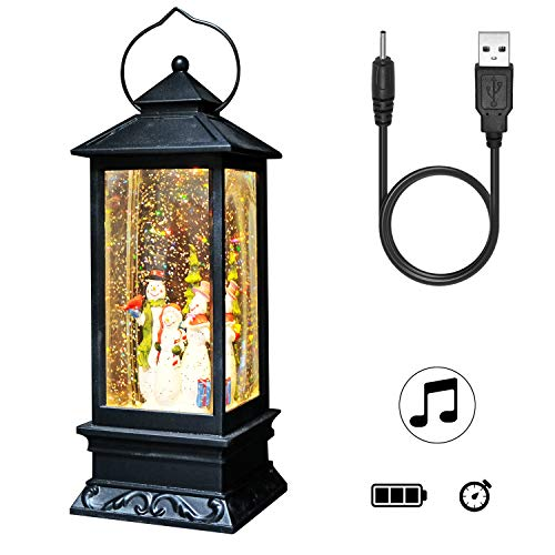 DRomance Lighted Water Lantern Glittering with Music Battery Operated and USB Powered Singing Snow Globe for Kids, Snowman Water Snow Glitter Globe Lantern for Christmas,12 Inch Tall